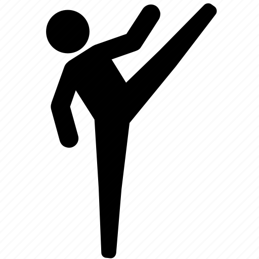 high kick, judo, karate, martial arts, round house, taekwondo icon