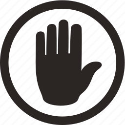 body, finger, glove, hand, stop icon
