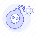 1, bomb, burning, crime, danger, explosive, lit, skull, weapons, wick icon