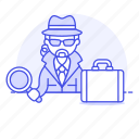 1, briefcase, crime, danger, detective, detectives, earphone, investigator, magnifier, male, search icon