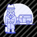 briefcase, detective, danger, vehicle, investigator, van, window, male, mpv, detectives, crime