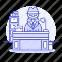 cabinet, crime, danger, desk, detective, detectives, investigator, male, office, phone, private