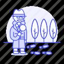 clue, crime, danger, detective, detectives, footprint, investigator, magnifier, man, search, track