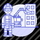 rescuer, fireman, emergency, danger, crime, fire, on, truck, man, rescue, firefighter