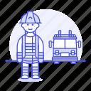 rescuer, fireman, emergency, danger, rescue, male, fire, truck, crime, help, firefighter