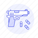 ammo, ammunition, armament, bullets, crime, danger, firearm, handgun, pistol, weapons icon