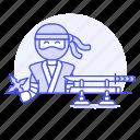 assassin, crime, danger, half, japan, male, mercenary, ninja, shinobi, shuriken, sword, weapon