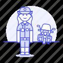 police, danger, crime, officer, law, enforcement, motorcycle, guard, bike, civil, female