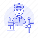1, crime, danger, enforcement, guard, law, male, officer, police, radio, truncheon icon