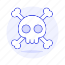 2, crime, crossbone, danger, death, poison, skeleton, skull, virus icon