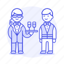 agent, crime, danger, disguise, earphone, event, male, social, spies, spy, undercover, waiter icon