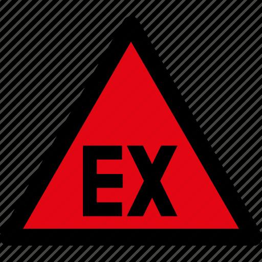 attention, caution, danger, explosible, hazard, region, warning icon