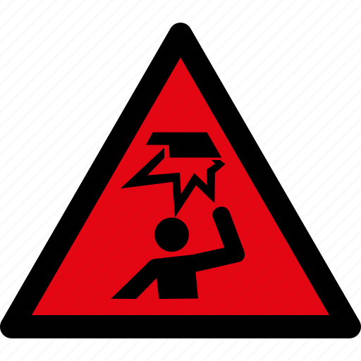 area, attention, caution, danger, head, obstacles, warning icon