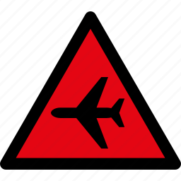 aircraft, airplane, attention, caution, danger, hazard, warning icon