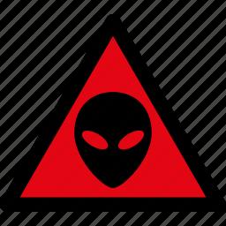 alien, caution, danger, hazard, ufo, visitors, warning icon