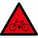 attention, bicycle, bike, caution, danger, hazard, warning icon