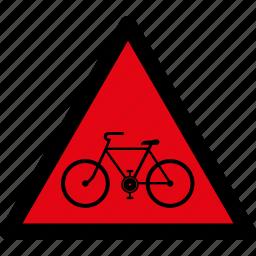 attention, bicycle, bike, caution, danger, hazard, warning icon