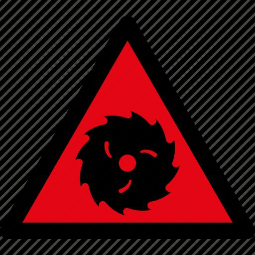 attention, blade, caution, danger, hazard, saw, warning icon