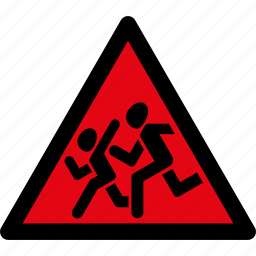 attention, children, danger, road sign, running, safety, warning icon