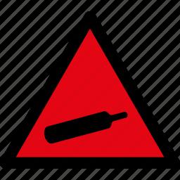 attention, caution, compressed, danger, gases, hazard, warning icon