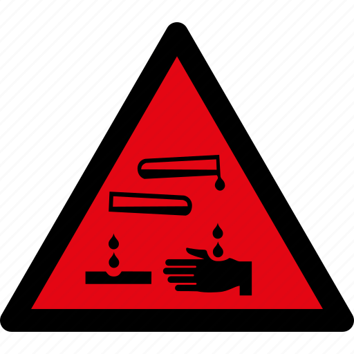 attention, caustic, caution, corrosive, danger, hazard, liquid icon
