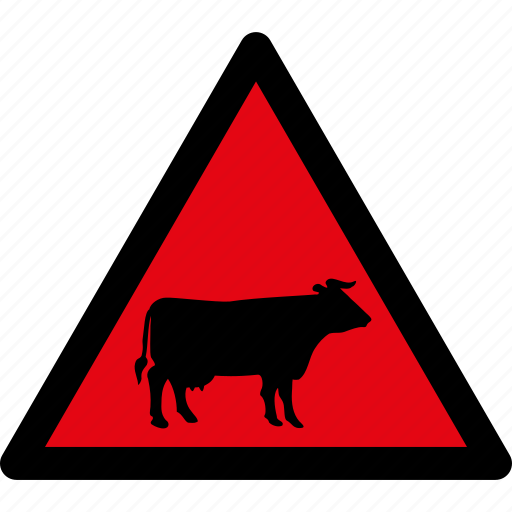 attention, cattle, caution, cow, danger, hazard, warning icon