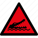 alligator, attention, caution, crocodile, danger, hazard, warning icon