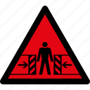 attention, caution, crushing, danger, hazard, risk, warning icon