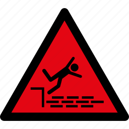 caution, danger, fall, hazard, risk, warning, water icon