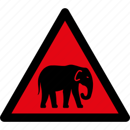 animals, attention, caution, danger, elephant, hazard, warning icon