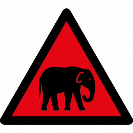 animals, attention, caution, danger, elephant, hazard, warning icon