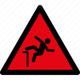 attention, caution, danger, fall, falling, hazard, warning icon