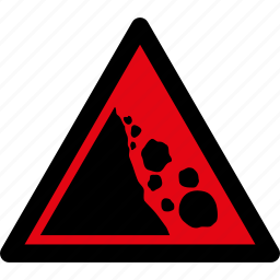 caution, danger, falling, rock, rocks, stones, warning icon