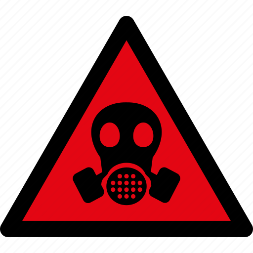 attention, caution, danger, gas mask, hazard, toxic, warning icon
