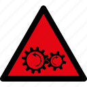 attention, caution, danger, gears, hazard, rotation, warning icon