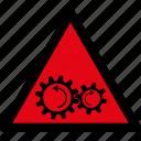 danger, gears, rotation, warning, attention, caution, hazard