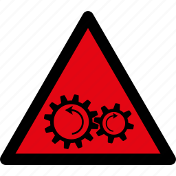 attention, caution, danger, gears, hazard, rotation, warning icon