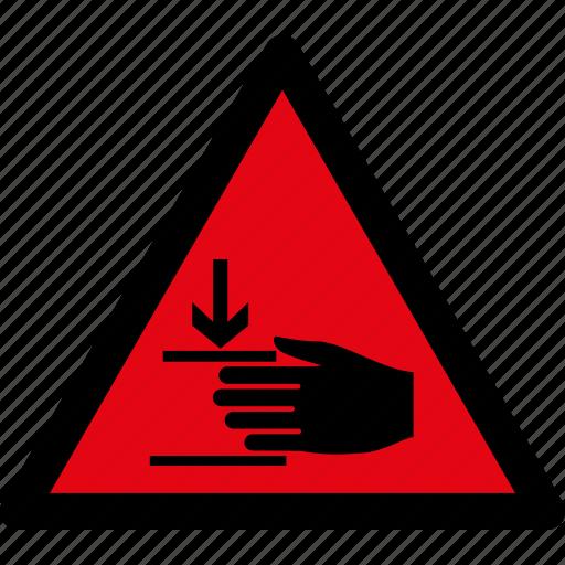 attention, caution, danger, hand, hazard, injury, warning icon