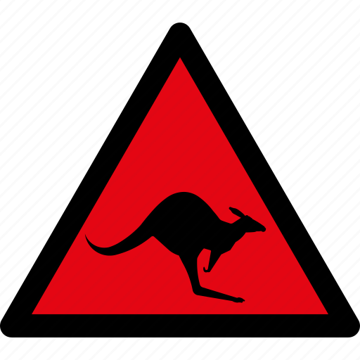 animals, attention, caution, danger, hazard, kangaroo, warning icon
