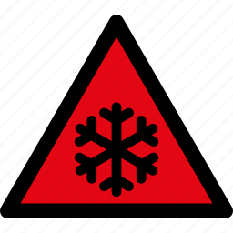 caution, cold, danger, frost, low temperature, snow, warning icon