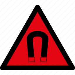attention, caution, danger, field, hazard, magnet, warning icon