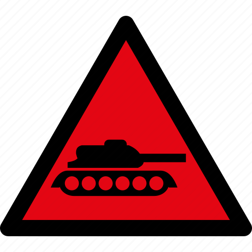 attention, caution, danger, hazard, military, tank, warning icon