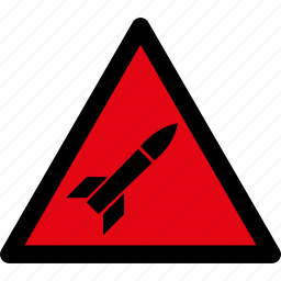 attention, caution, danger, hazard, missile, rocket, warning icon