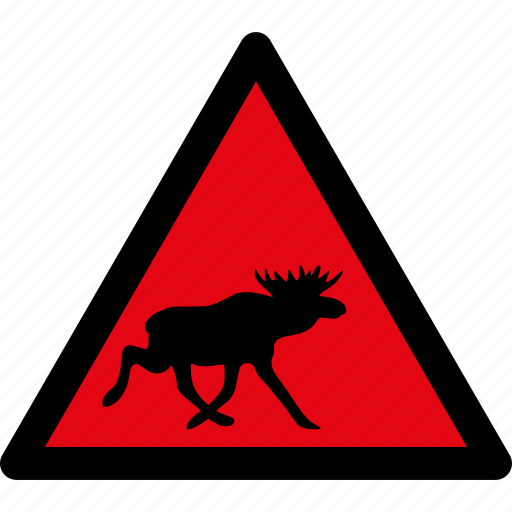 animals, attention, caution, danger, hazard, moose, warning icon