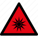 attention, bright, danger, light, optical, radiation, warning icon