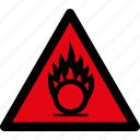 attention, caution, danger, gases, hazard, oxidizing, warning icon