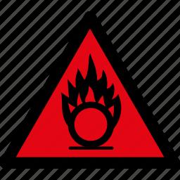 attention, caution, danger, gases, hazard, oxidizing, warning icon