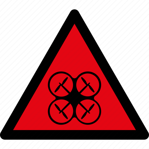 air drone, attention, caution, danger, hazard, quadcopter, warning icon