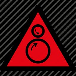 attention, caution, danger, hazard, rolls, rotatiing, warning icon