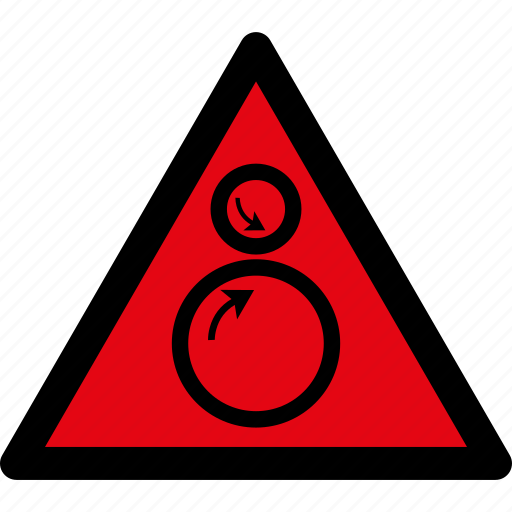 attention, caution, danger, hazard, rolls, rotatiing, warning icon